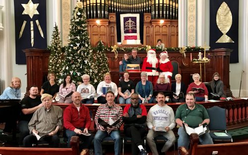Choir rehearsing for Advent Cantata December, 2019